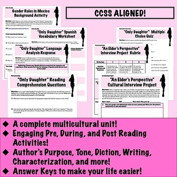 """""""Only Daughter"""" by Sandra Cisneros: Close Reading & Analysis Unit"""