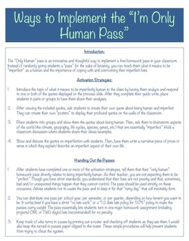 """Only Human"" Homework Pass: The Pass That Teaches A Lesson!"