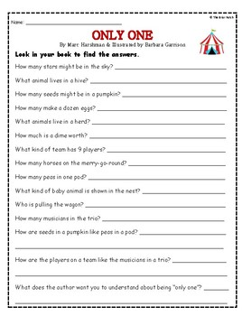 """Only One"" Activities for Guided Reading and Writing"