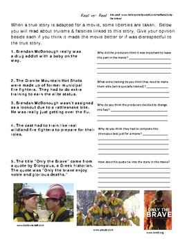"""""""Only the Brave"""" movie viewing packet"""
