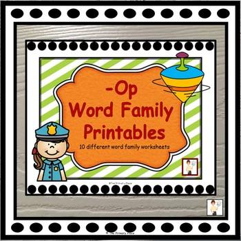 -Op Word Family Printable Worksheets