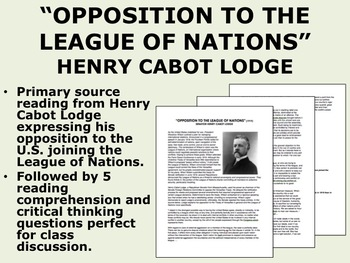 """""""Opposition to the League of Nations"""" - Henry Cabot Lodge"""