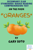 """Oranges"" Poem by Gary Soto Multiple-Choice Reading Analysis Comprehension Test"