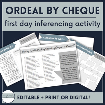 """""""Ordeal by Cheque"""" First Day Inferencing Activity"""