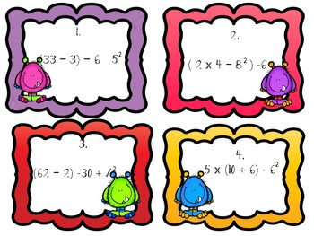 **Order of Operations PEMDAS Task Cards with Recording Sheet and Answer Key**