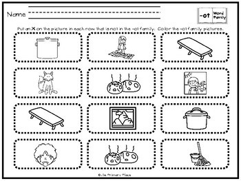 -Ot Word Family Printable Worksheets