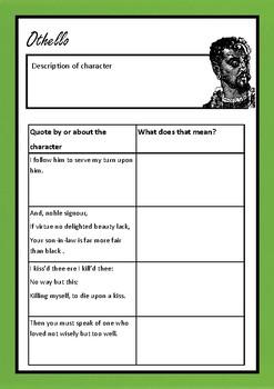 'Othello' quote analysis workbook