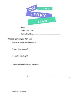 """""""Our Own Story Slam"""" Storytelling Activity Bundle"""