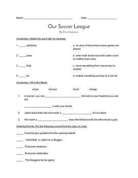 """Our Soccer League"" QUIZ - Spotlight On Literacy (Book Two - Level 7)"
