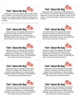 """""""Owl"""" About Me Bag Labels"""
