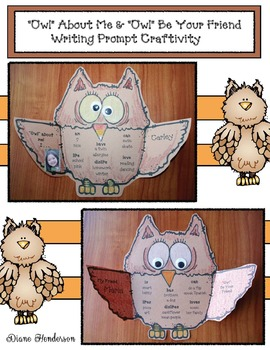 """""""Owl"""" About Me & """"Owl"""" Be Your Friend Writing Prompt Craftivity"""