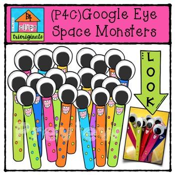 FREE (P4C) Google Eye Space Monsters {P4 Clips Trioriginals Digital Clip Art}