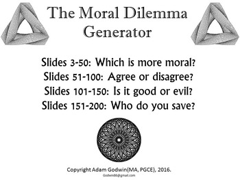 [P4C] The Moral Dilemma Generator - [200 Slide PPT with 'R