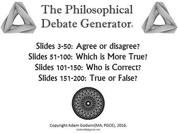 [P4C] The Philosophical Debate Generator - [200 Slide PPT with 'Randomiser'] P4K