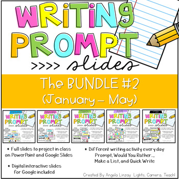 {PAPERLESS} Writing Prompts:The BUNDLE #2 Compatible w/Google Slides & PPT