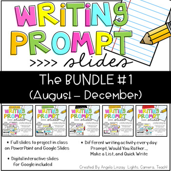 {PAPERLESS} Writing Prompts:The BUNDLE Compatible w/Google Slides & PPT