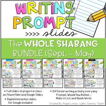 {PAPERLESS} Writing Prompts:The WHOLE SHABANG! Compatible w/Google Slides & PPT