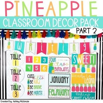 **PART 2** Bright Pineapple Themed Decor Pack! -Editable