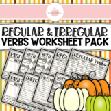 **REGULAR AND IRREGULAR VERB TENSES PAST PRESENT FUTURE VERBS WORKSHEET BUNDLE**
