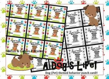 'PAW'some Behavior - Dog themed punch card