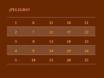 ¡PELIGRO! Higher numbers