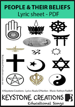 'PEOPLE & THEIR BELIEFS' ~ Lyrics PDF: Children READ & LEARN Important Facts