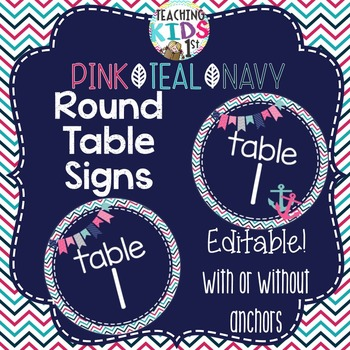 {PINK, TEAL, NAVY} {NAUTICAL} Editable Table Signs