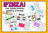 ¡PINZA! Lee y pinza colores, números y formas