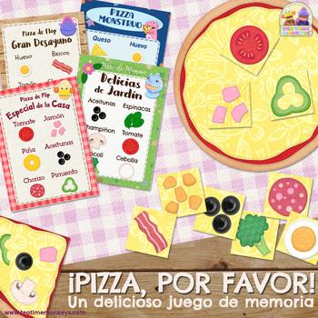¡PIZZA, POR FAVOR! IMPRIME Y JUEGA - Juego de Memoria / Matching Game in Spanish