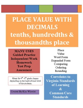 PLACE VALUE  With Decimals VA SOL & Common Core