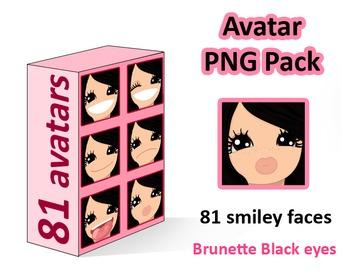 ♡ PNG Pack 81 avatars. Girl Faces. BLACK HAIR, BROWN EYES