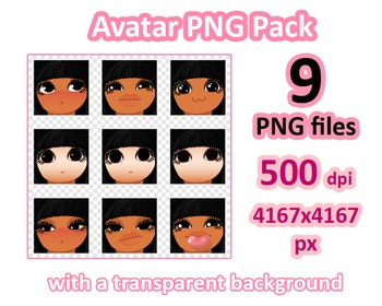 ♡ PNG Pack 81 avatars. Girl Faces. BLACK HAIR BROWN EYES