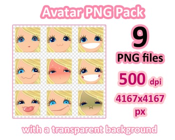 ♡ PNG Pack 81 avatars. Girl Faces. BLONDE, BLUE EYES