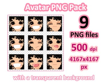♡ PNG Pack 81 avatars. Girl Faces. BLACK CURLY HAIR, BROWN  EYES