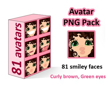 ♡ PNG Pack 81 avatars. Girl Faces.  BROWN CURLY HAIR, GREEN EYES