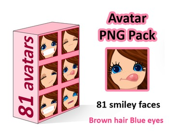 ♡ PNG Pack 81 avatars. Girl Faces. BROWN HAIR, BLUE EYES