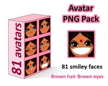 ♡ PNG Pack 81 avatars. Girl Faces. BROWN HAIR, BROWN EYES