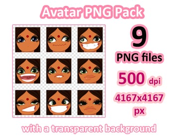 ♡ PNG Pack 81 avatars. Girl Faces. BROWN HAIR, GREEN GRAY EYES