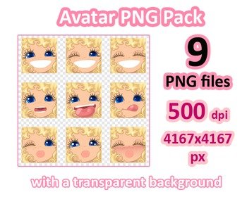 ♡ PNG Pack 81 avatars. Girl Faces. CURLY BLONDE, BLUE EYES