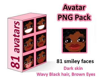 ♡ PNG Pack 81 avatars. Girl Faces. Dark skin, wavy black h