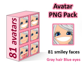 ♡ PNG Pack 81 avatars. Girl Faces. Grey Hair, Blue eyes