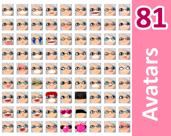 ♡ PNG Pack 81 avatars. Girl Faces. Grey Hair, Blue eyes  + GLASSES