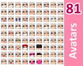 ♡ PNG Pack 81 avatars. Girl Faces. Grey Hair, Blue eyes  +