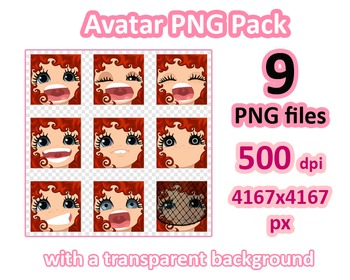 ♡ PNG Pack 81 avatars. Girl Faces. RED CURLY HAIR, GRAY EYES