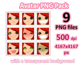 ♡ PNG Pack 81 avatars. Girl Faces. RED HAIR, GREEN EYES