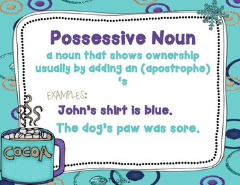 POSSESSIVE NOUNS Task Cards or Grammar Center or Scoot Game