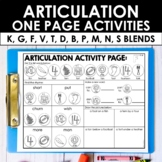 Speech Therapy Articulation Activities - Early Sounds