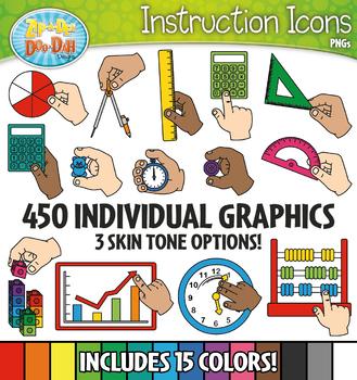 Math Supply Hands Instruction Icons Clipart {Zip-A-Dee-Doo-Dah Designs}