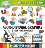 Science Supply Hands Instruction Icons Clipart {Zip-A-Dee-Doo-Dah Designs}