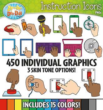 Technology Supply Hands Instruction Icons Clipart {Zip-A-Dee-Doo-Dah Designs}
